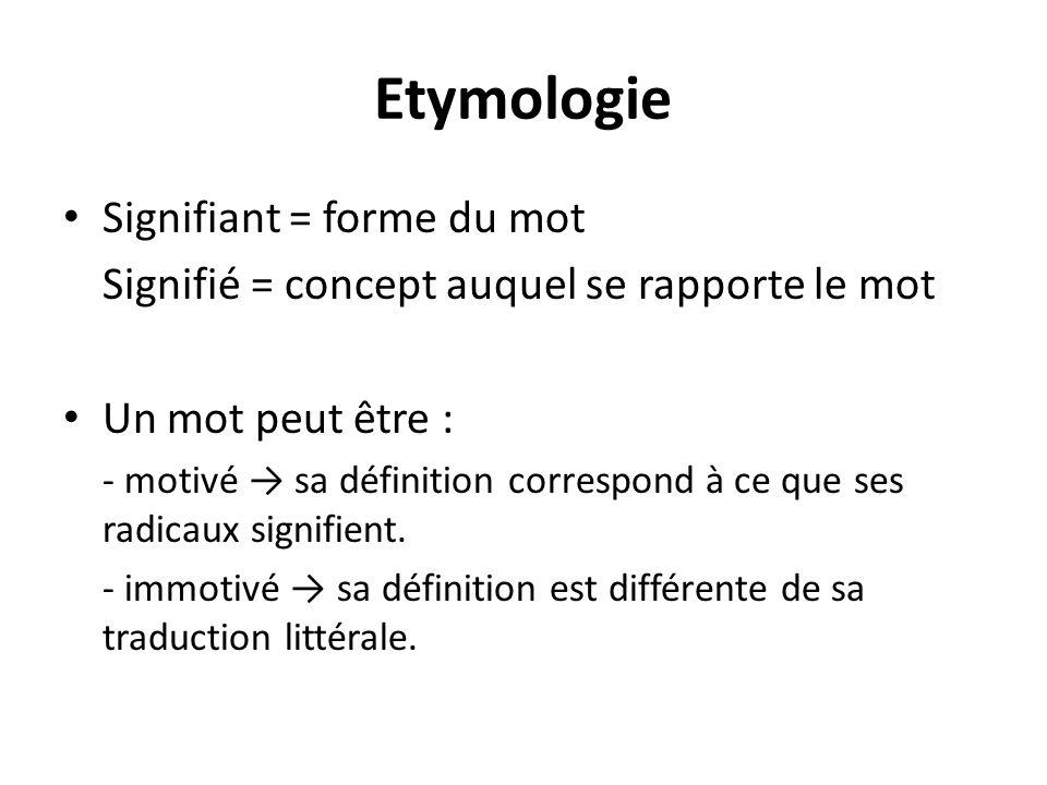 Etymologie Signifiant = forme du mot Signifié = concept auquel se rapporte le mot Un mot peut être : - motivé sa définition correspond à ce que ses ra
