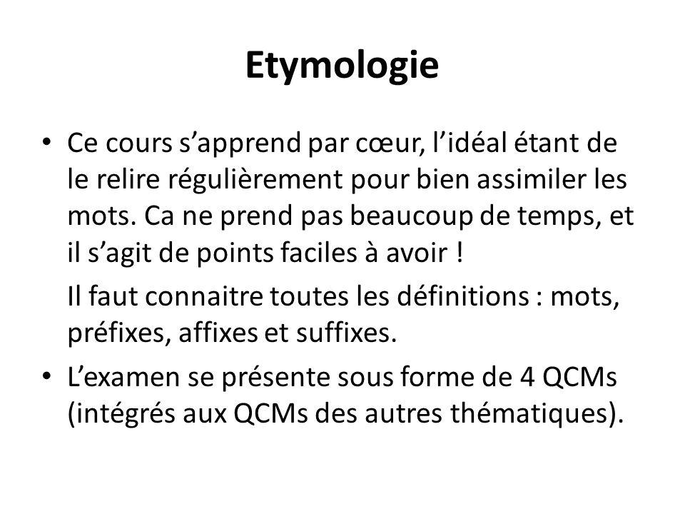 Etymologie Ce cours sapprend par cœur, lidéal étant de le relire régulièrement pour bien assimiler les mots. Ca ne prend pas beaucoup de temps, et il