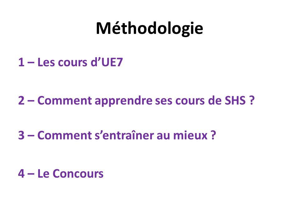 Méthodologie 1 – Les cours dUE7 2 – Comment apprendre ses cours de SHS ? 3 – Comment sentraîner au mieux ? 4 – Le Concours