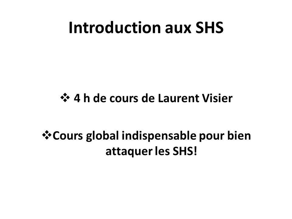 Introduction aux SHS 4 h de cours de Laurent Visier Cours global indispensable pour bien attaquer les SHS!