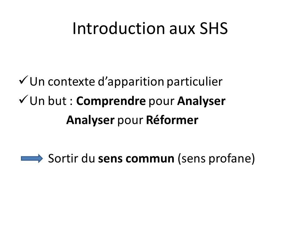 Introduction aux SHS Un contexte dapparition particulier Un but : Comprendre pour Analyser Analyser pour Réformer Sortir du sens commun (sens profane)