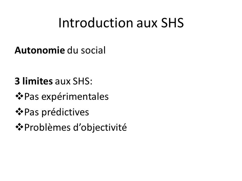 Introduction aux SHS Autonomie du social 3 limites aux SHS: Pas expérimentales Pas prédictives Problèmes dobjectivité