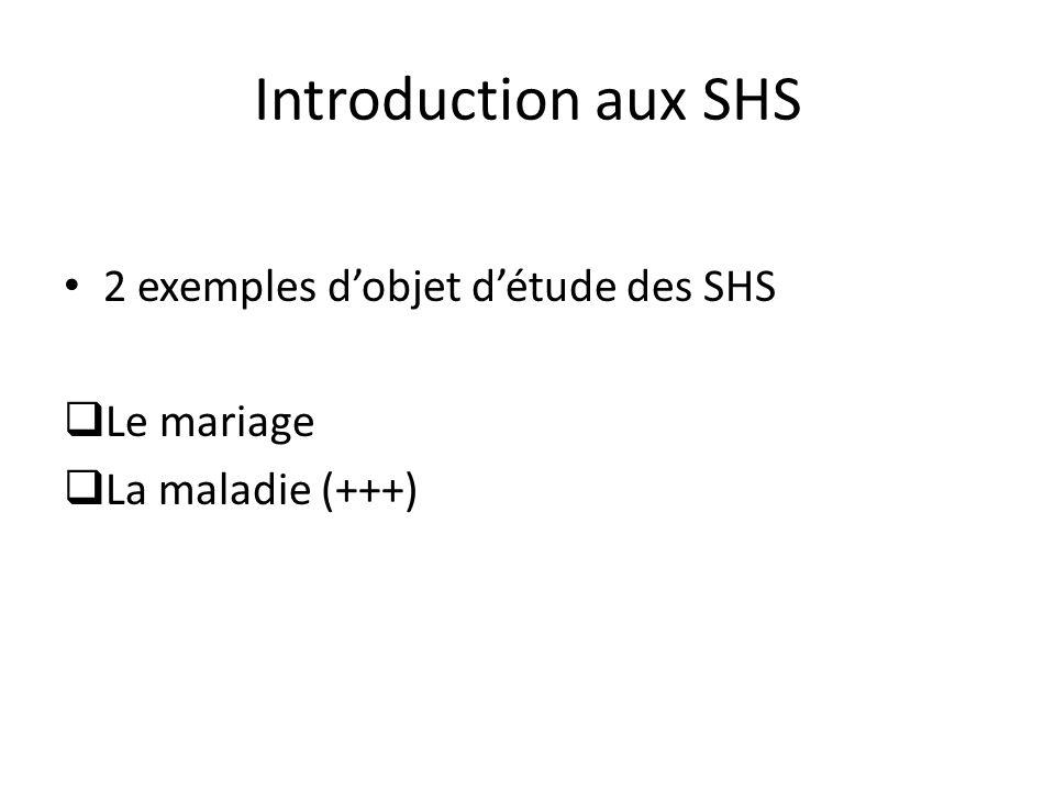 Introduction aux SHS 2 exemples dobjet détude des SHS Le mariage La maladie (+++)