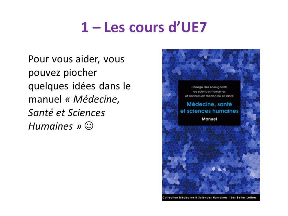 1 – Les cours dUE7 Pour vous aider, vous pouvez piocher quelques idées dans le manuel « Médecine, Santé et Sciences Humaines »