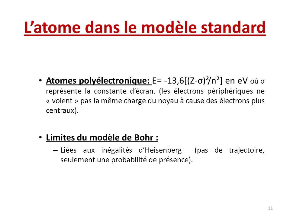 Latome dans le modèle standard Atomes polyélectronique: E= -13,6[(Z-σ)²/n²] en eV où σ représente la constante décran. (les électrons périphériques ne