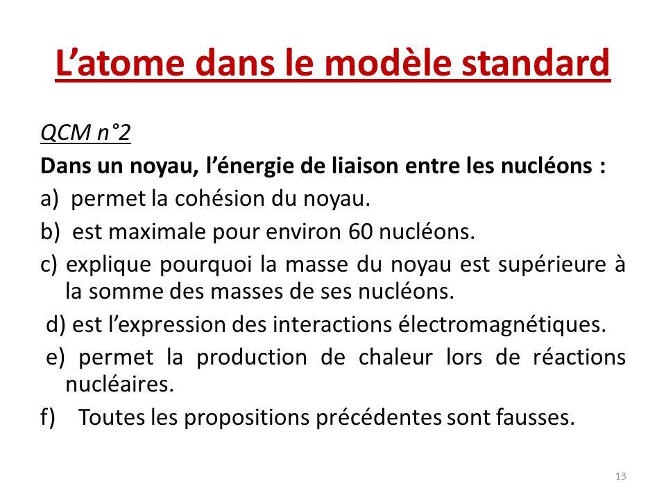 Latome dans le modèle standard QCM n°2 Dans un noyau, lénergie de liaison entre les nucléons : a) permet la cohésion du noyau. b) est maximale pour en