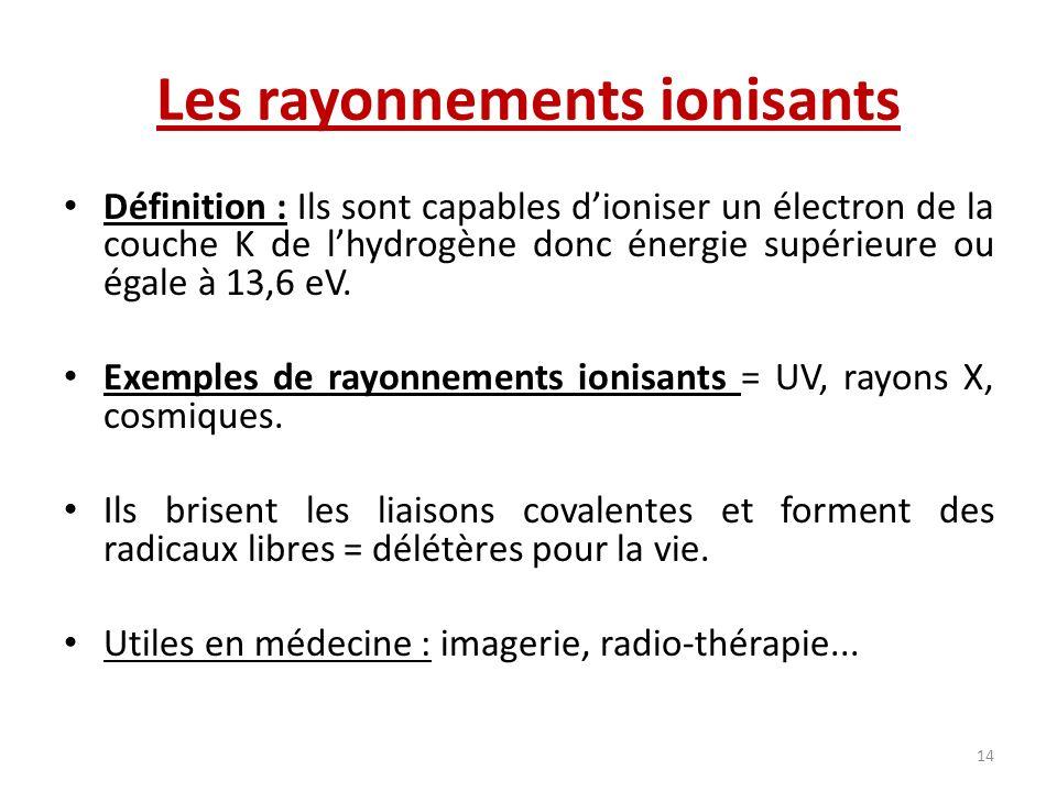 Les rayonnements ionisants Définition : Ils sont capables dioniser un électron de la couche K de lhydrogène donc énergie supérieure ou égale à 13,6 eV