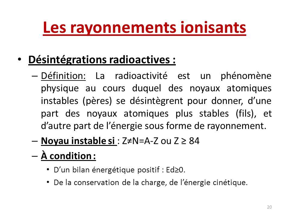 Les rayonnements ionisants Désintégrations radioactives : – Définition: La radioactivité est un phénomène physique au cours duquel des noyaux atomique
