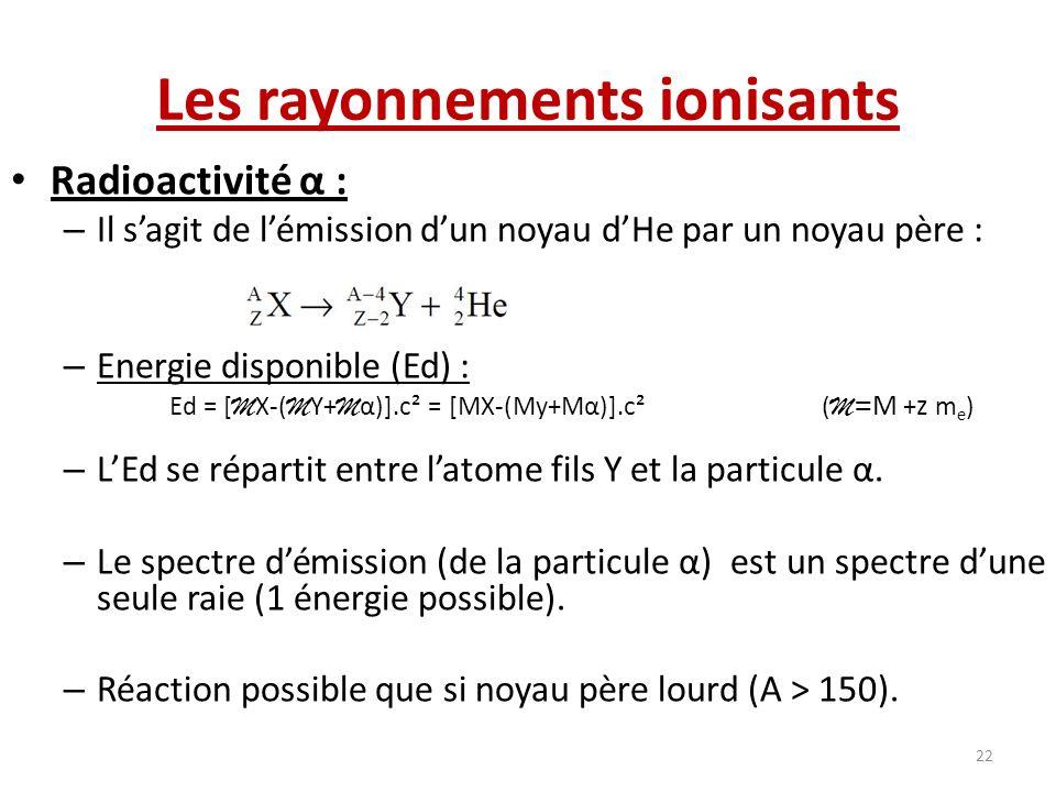 Les rayonnements ionisants Radioactivité α : – Il sagit de lémission dun noyau dHe par un noyau père : – Energie disponible (Ed) : Ed = [ M X-( M Y+ M