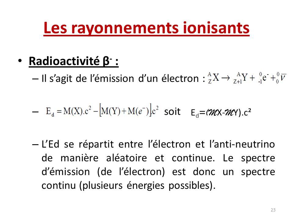 Les rayonnements ionisants Radioactivité β - : – Il sagit de lémission dun électron : – soit – LEd se répartit entre lélectron et lanti-neutrino de ma