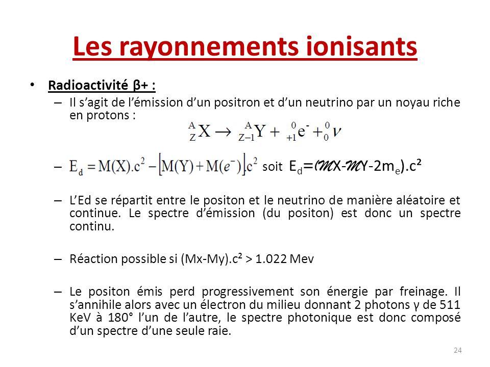 Les rayonnements ionisants Radioactivité β+ : – Il sagit de lémission dun positron et dun neutrino par un noyau riche en protons : – soit E d =(M X- M