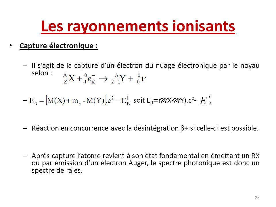 Capture électronique : – Il sagit de la capture dun électron du nuage électronique par le noyau selon : – soit E d =(M X- M Y).c²- – Réaction en concu