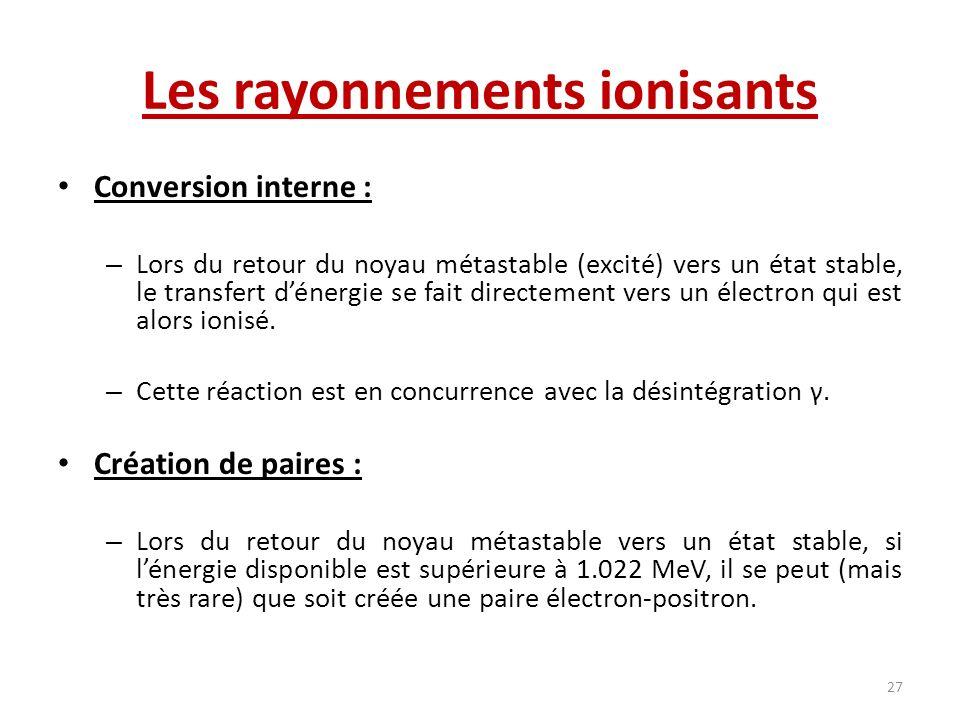 Les rayonnements ionisants Conversion interne : – Lors du retour du noyau métastable (excité) vers un état stable, le transfert dénergie se fait direc