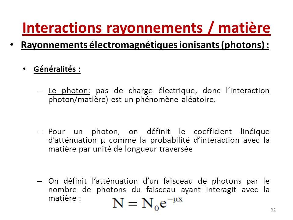 Rayonnements électromagnétiques ionisants (photons) : Généralités : – Le photon: pas de charge électrique, donc linteraction photon/matière) est un ph