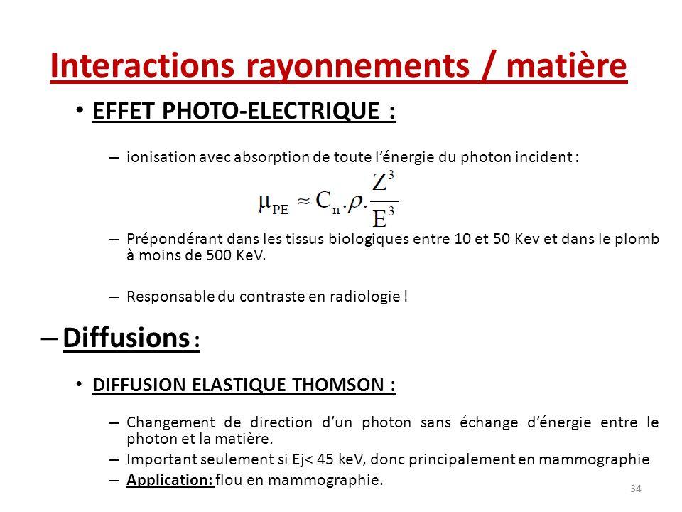 EFFET PHOTO-ELECTRIQUE : – ionisation avec absorption de toute lénergie du photon incident : – Prépondérant dans les tissus biologiques entre 10 et 50