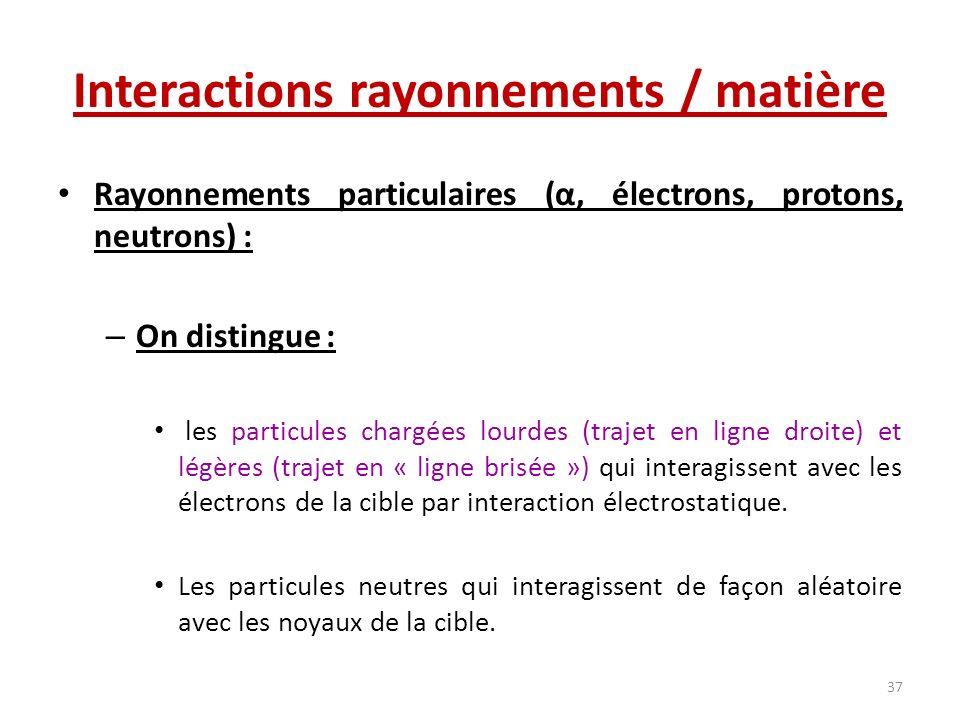 Interactions rayonnements / matière Rayonnements particulaires (α, électrons, protons, neutrons) : – On distingue : les particules chargées lourdes (t