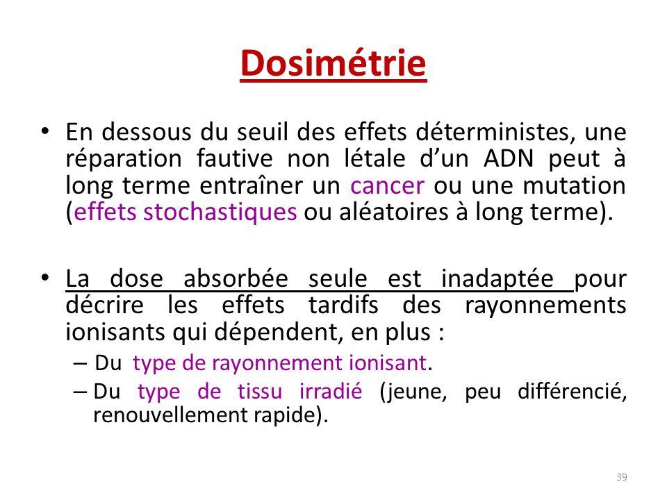 Dosimétrie En dessous du seuil des effets déterministes, une réparation fautive non létale dun ADN peut à long terme entraîner un cancer ou une mutati