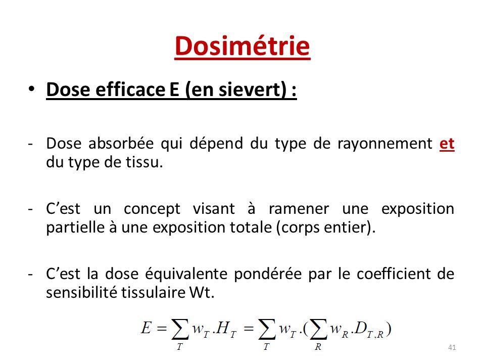 Dosimétrie Dose efficace E (en sievert) : -Dose absorbée qui dépend du type de rayonnement et du type de tissu. -Cest un concept visant à ramener une