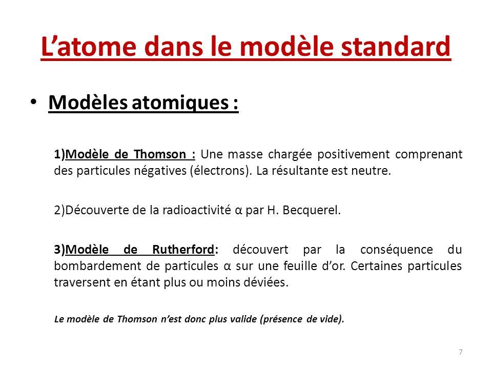 Latome dans le modèle standard Modèles atomiques : 1)Modèle de Thomson : Une masse chargée positivement comprenant des particules négatives (électrons