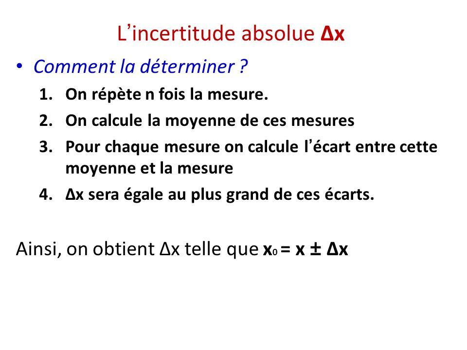 Lincertitude absolue Δx Comment la déterminer ? 1.On répète n fois la mesure. 2.On calcule la moyenne de ces mesures 3.Pour chaque mesure on calcule l