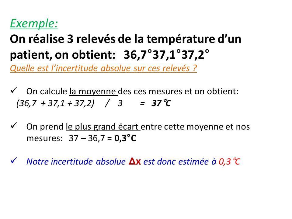 Exemple: On réalise 3 relevés de la température dun patient, on obtient: 36,7°37,1°37,2° Quelle est lincertitude absolue sur ces relevés ? On calcule