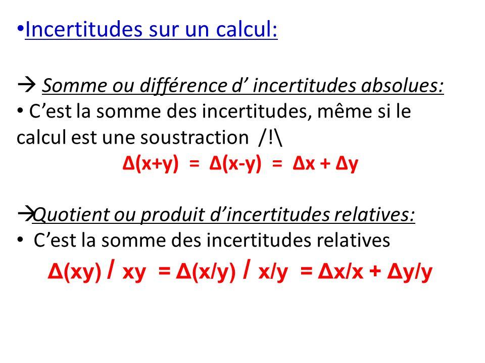 Incertitudes sur un calcul: Somme ou différence d incertitudes absolues: Cest la somme des incertitudes, même si le calcul est une soustraction /!\ Δ(