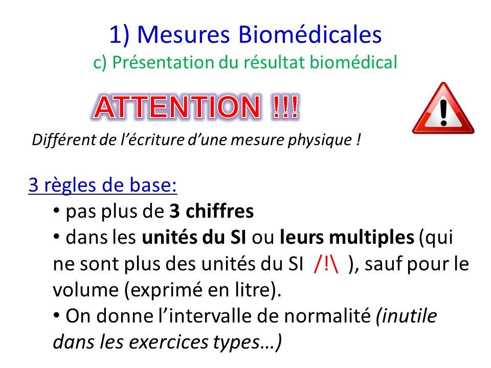 1) Mesures Biomédicales c) Présentation du résultat biomédical 3 règles de base: pas plus de 3 chiffres dans les unités du SI ou leurs multiples (qui