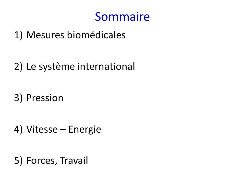 Sommaire 1)Mesures biomédicales 2)Le système international 3)Pression 4)Vitesse – Energie 5)Forces, Travail