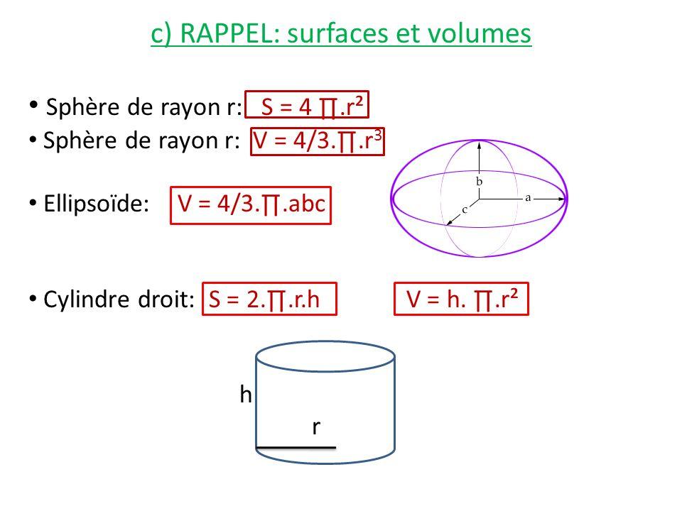 c) RAPPEL: surfaces et volumes Sphère de rayon r: S = 4.r² Sphère de rayon r: V = 4/3..r 3 Ellipsoïde: V = 4/3..abc Cylindre droit: S = 2..r.h V = h..