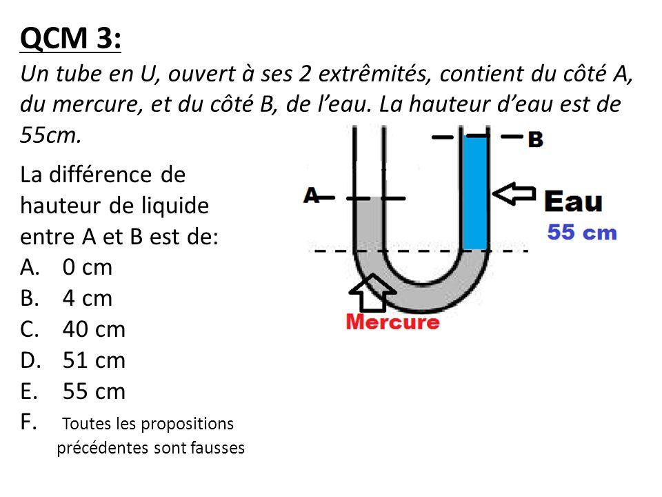 QCM 3: Un tube en U, ouvert à ses 2 extrêmités, contient du côté A, du mercure, et du côté B, de leau. La hauteur deau est de 55cm. La différence de h