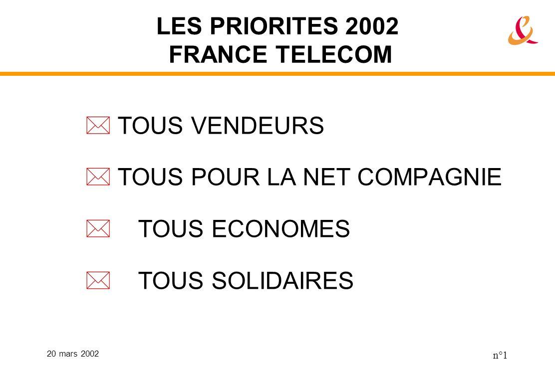 20 mars 2002 n°1 LES PRIORITES 2002 FRANCE TELECOM TOUS VENDEURS TOUS POUR LA NET COMPAGNIE TOUS ECONOMES TOUS SOLIDAIRES