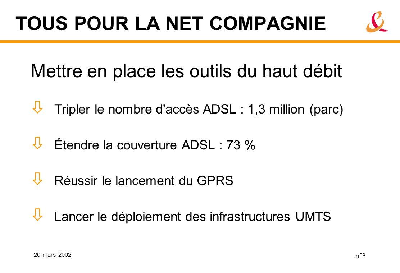 20 mars 2002 n°3 TOUS POUR LA NET COMPAGNIE Mettre en place les outils du haut débit Tripler le nombre d accès ADSL : 1,3 million (parc) Étendre la couverture ADSL : 73 % Réussir le lancement du GPRS Lancer le déploiement des infrastructures UMTS