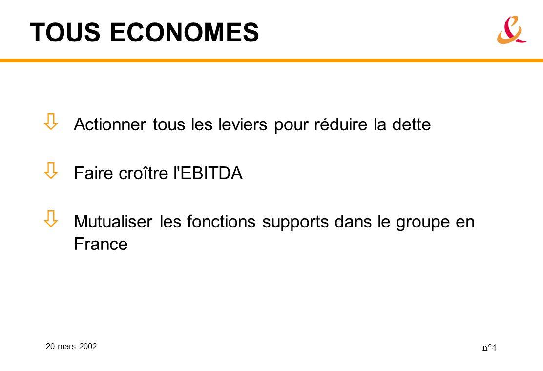 20 mars 2002 n°4 TOUS ECONOMES Actionner tous les leviers pour réduire la dette Faire croître l EBITDA Mutualiser les fonctions supports dans le groupe en France
