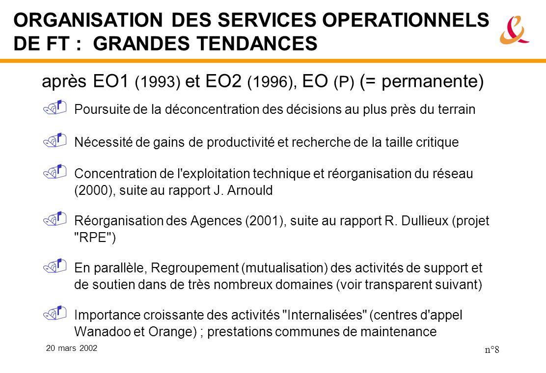 20 mars 2002 n°8 ORGANISATION DES SERVICES OPERATIONNELS DE FT : GRANDES TENDANCES après EO1 (1993) et EO2 (1996), EO (P) (= permanente) Poursuite de la déconcentration des décisions au plus près du terrain Nécessité de gains de productivité et recherche de la taille critique Concentration de l exploitation technique et réorganisation du réseau (2000), suite au rapport J.
