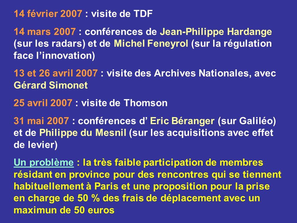 14 février 2007 : visite de TDF 14 mars 2007 : conférences de Jean-Philippe Hardange (sur les radars) et de Michel Feneyrol (sur la régulation face li