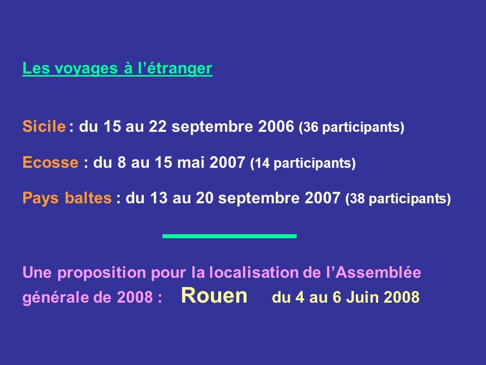 Les voyages à létranger Sicile : du 15 au 22 septembre 2006 (36 participants) Ecosse : du 8 au 15 mai 2007 (14 participants) Pays baltes : du 13 au 20