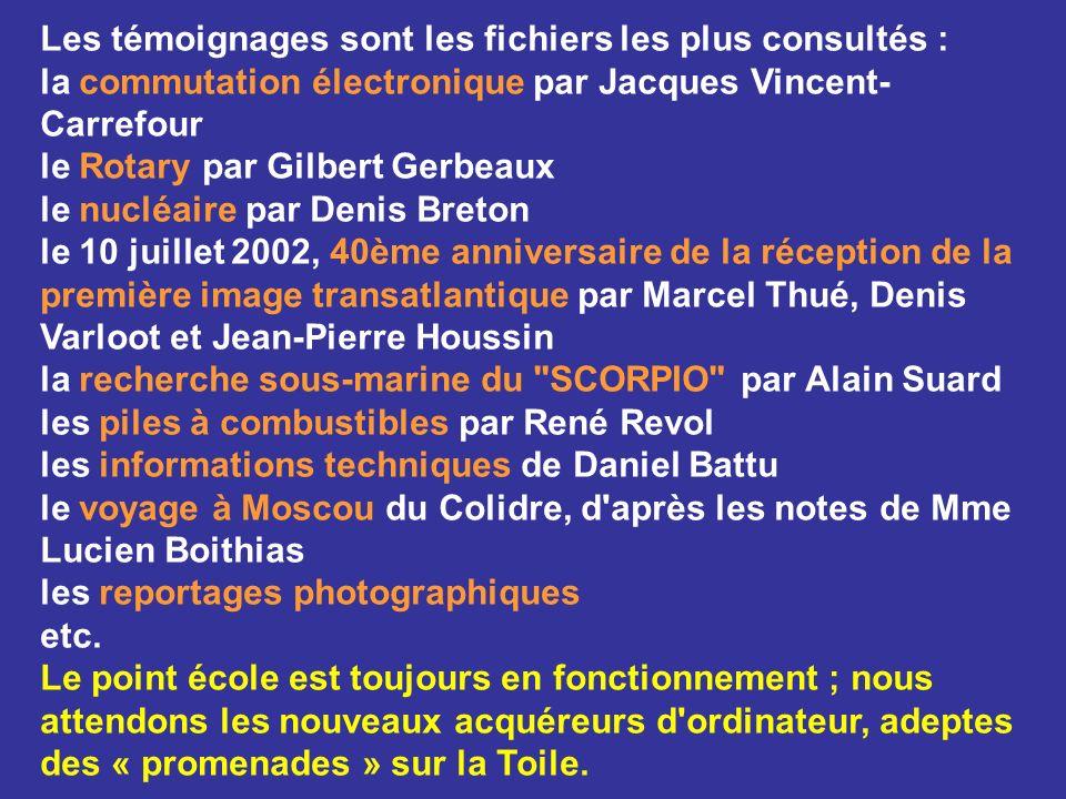 Les témoignages sont les fichiers les plus consultés : la commutation électronique par Jacques Vincent- Carrefour le Rotary par Gilbert Gerbeaux le nu