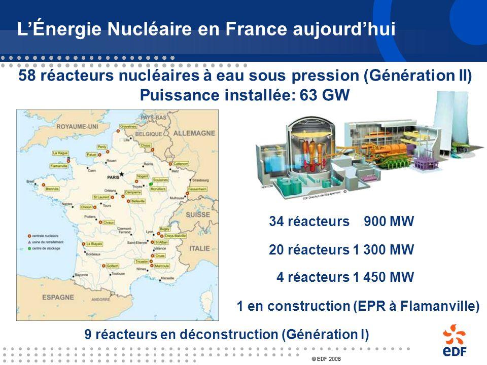 LÉnergie Nucléaire en France, les débuts Centrales de « Génération I » UNGG 5 tranches (Chinon, St Laurent, Bugey) 1965 – 1994 PWR (Chooz A) 1966 - 19