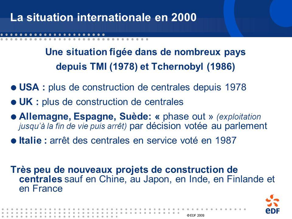La situation internationale en 2000 439 réacteurs en service dans le monde USA : 104 France : 58 Japon : 55 Russie : 31 Canada : 22 Corée du sud : 20
