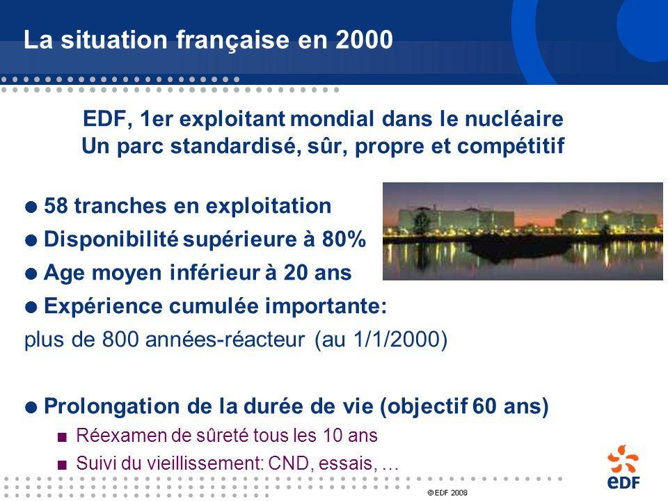 La situation internationale en 2000 Une situation figée dans de nombreux pays depuis TMI (1978) et Tchernobyl (1986) USA : plus de construction de cen