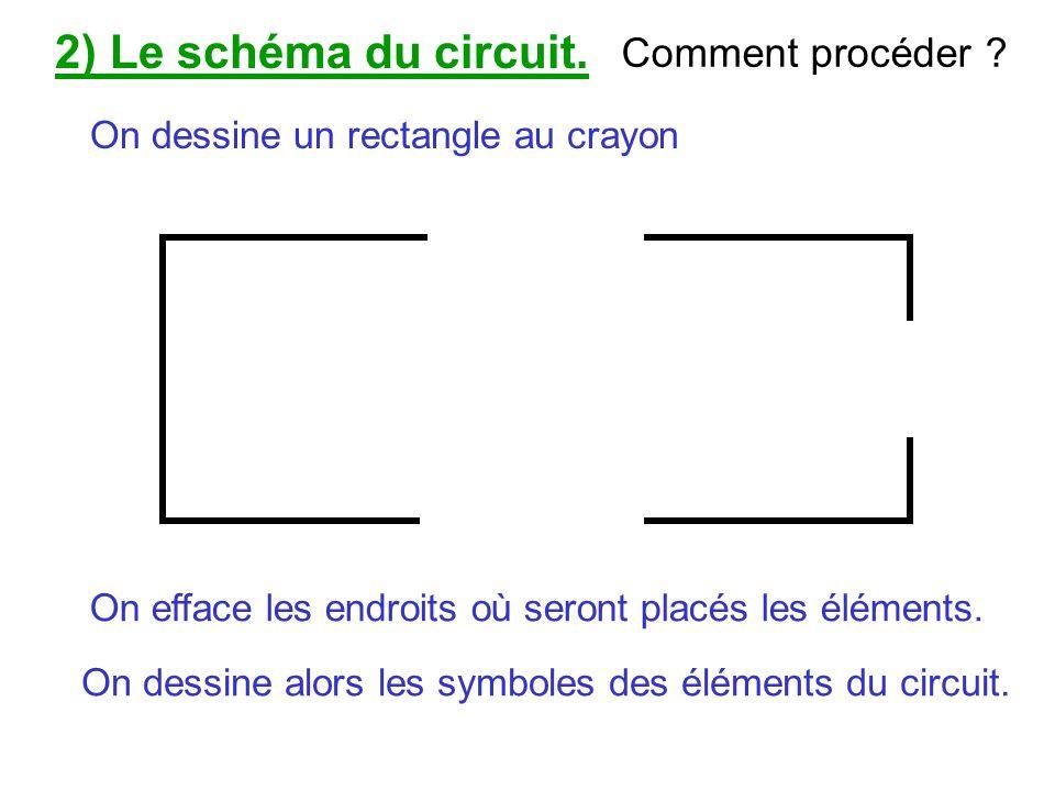 On dessine un rectangle au crayon On efface les endroits où seront placés les éléments. On dessine alors les symboles des éléments du circuit. 2) Le s