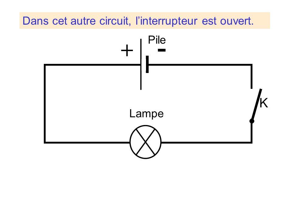 Dans cet autre circuit, linterrupteur est ouvert. Lampe Pile + K -