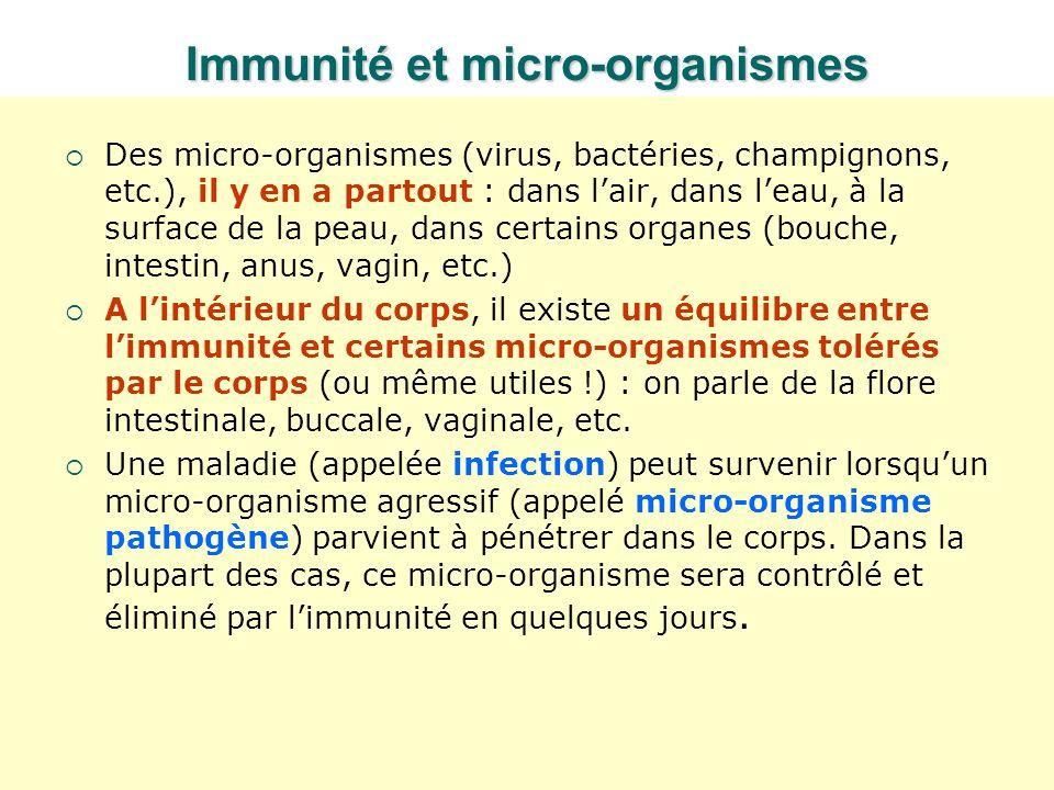Immunité et micro-organismes Des micro-organismes (virus, bactéries, champignons, etc.), il y en a partout : dans lair, dans leau, à la surface de la