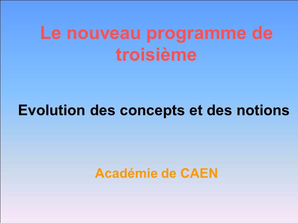 Le nouveau programme de troisième Evolution des concepts et des notions Académie de CAEN