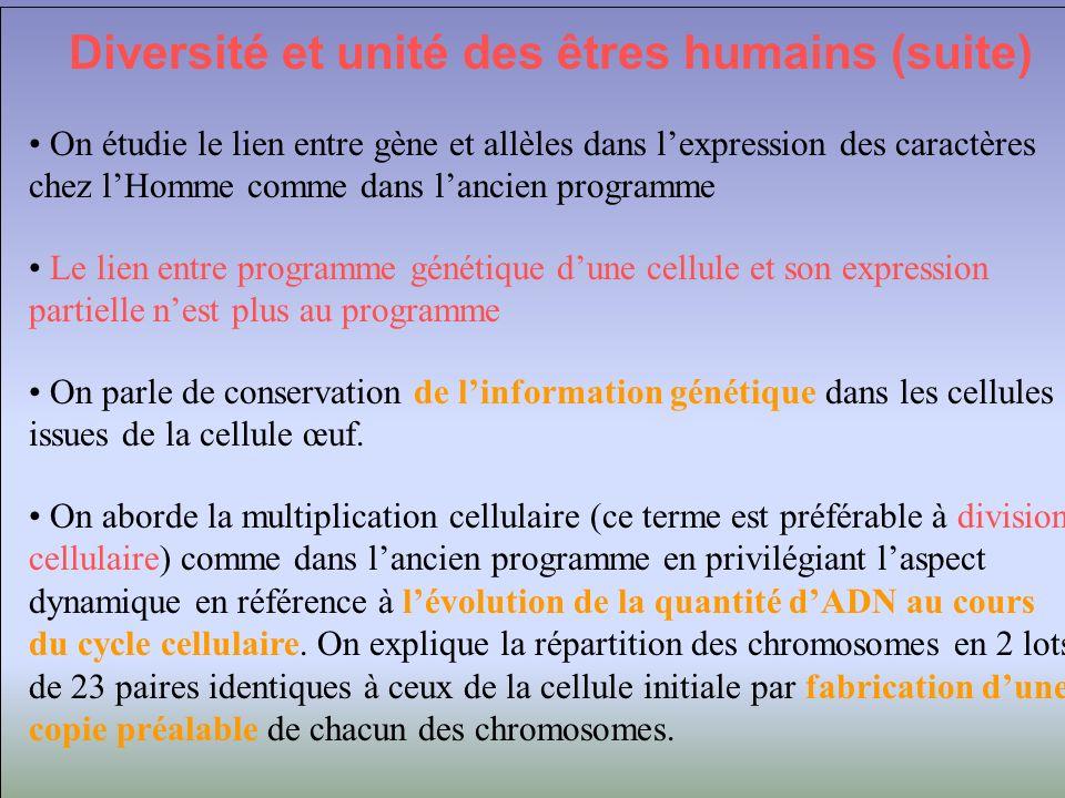 Diversité et unité des êtres humains (suite) On étudie le lien entre gène et allèles dans lexpression des caractères chez lHomme comme dans lancien pr