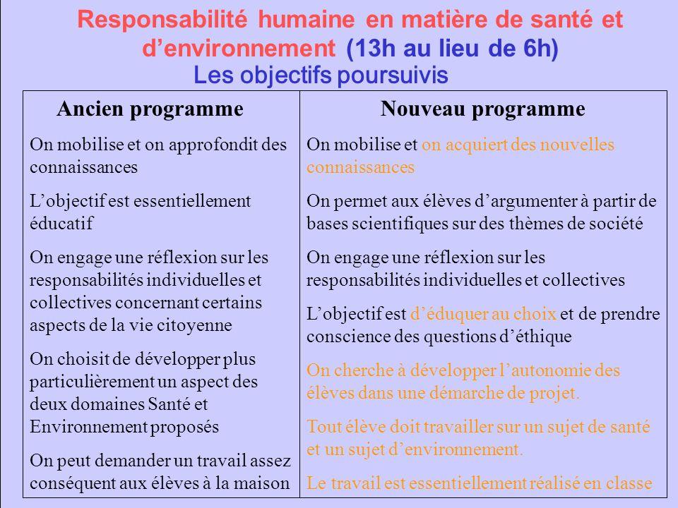 Responsabilité humaine en matière de santé et denvironnement (13h au lieu de 6h) Les objectifs poursuivis Ancien programme On mobilise et on approfond