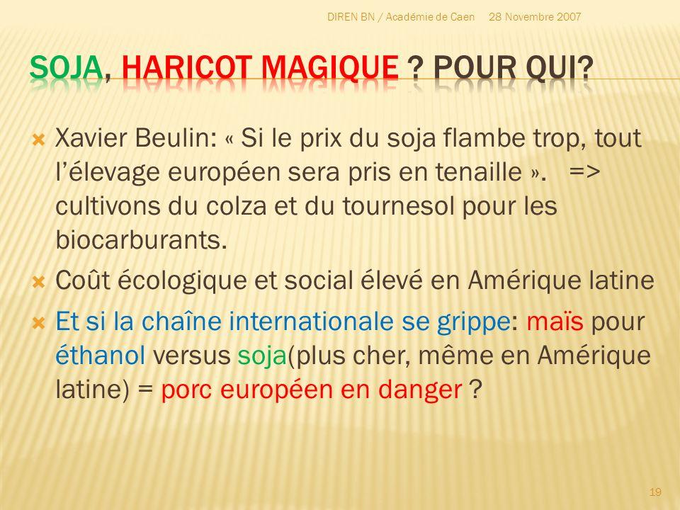Xavier Beulin: « Si le prix du soja flambe trop, tout lélevage européen sera pris en tenaille ». => cultivons du colza et du tournesol pour les biocar