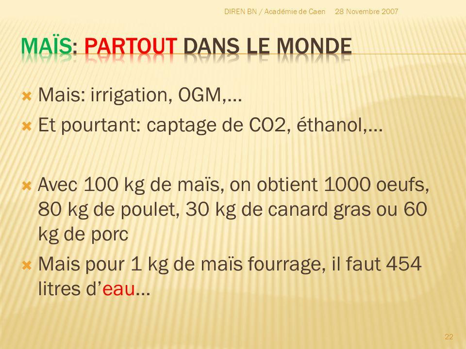 Mais: irrigation, OGM,… Et pourtant: captage de CO2, éthanol,… Avec 100 kg de maïs, on obtient 1000 oeufs, 80 kg de poulet, 30 kg de canard gras ou 60