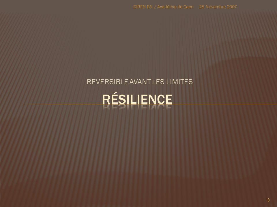 REVERSIBLE AVANT LES LIMITES 28 Novembre 2007DIREN BN / Académie de Caen 3
