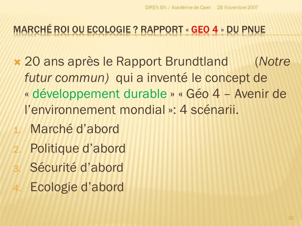 20 ans après le Rapport Brundtland(Notre futur commun) qui a inventé le concept de « développement durable » « Géo 4 – Avenir de lenvironnement mondia